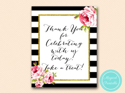 sign-thanks-for-celebrating-floral-black-stripes-bridal-shower
