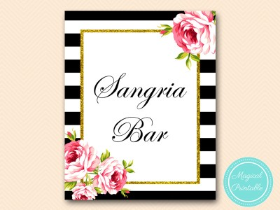 sangria bar sign printable black stripes floral kate spade