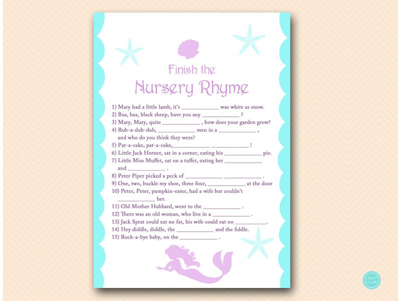 ... Tlc125 Nursery Rhyme Finish Mermaid Baby Shower Game ...