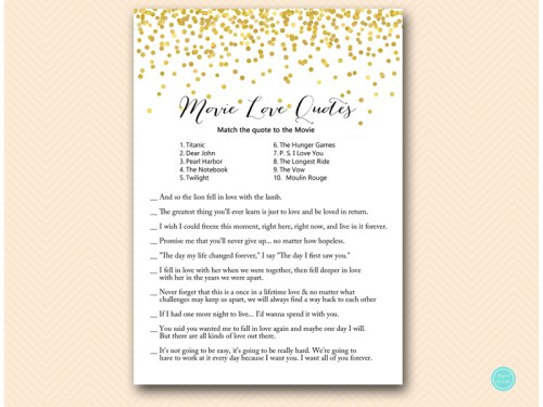 Gold phone game tradition quiz movies quotes magical printable movie quote game c gold confetti bridal shower stopboris Images