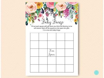 TLC140-bingo-baby-shower-B-garden-floral-baby-shower-activitie