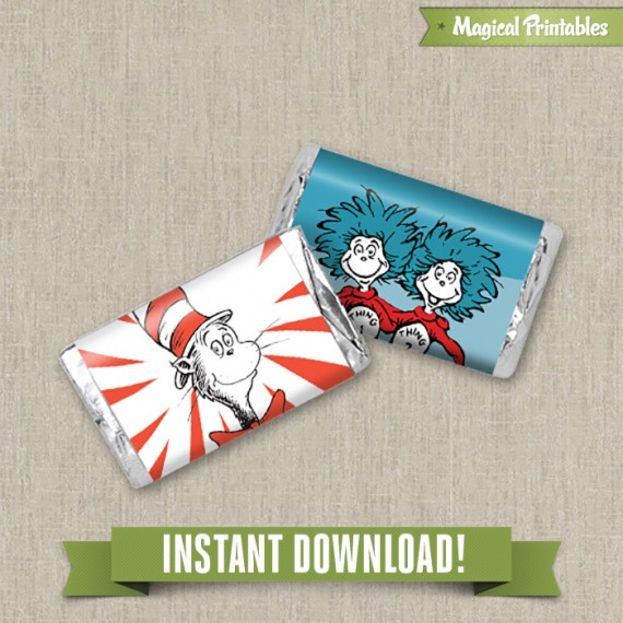 Dr Seuss Cat in the Hat Printable Birthday Mini Hershey\u0027s Wrappers