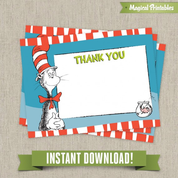 Dr Seuss Cat in The Hat Editable Birthday Thank you Cards - Instant