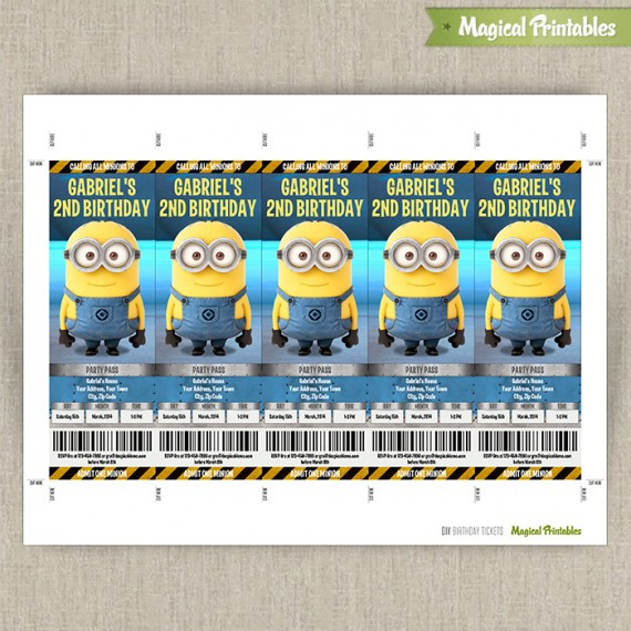 Despicable Me Minions Birthday Ticket Invitations (Lab Set - ticket invitation