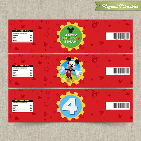 Disney Mickey Mouse Clubhouse Printable Birthday Bottle Labels