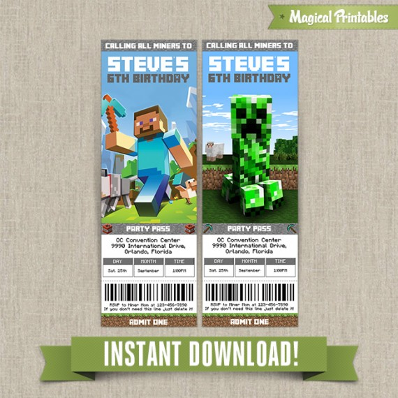 Minecraft Birthday Ticket Invitations - Instant Download!