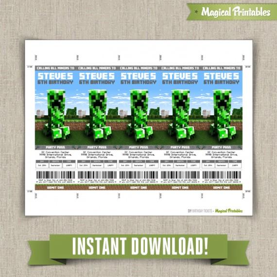 Minecraft Birthday Ticket Invitations - Instant Download! - ticket invitation