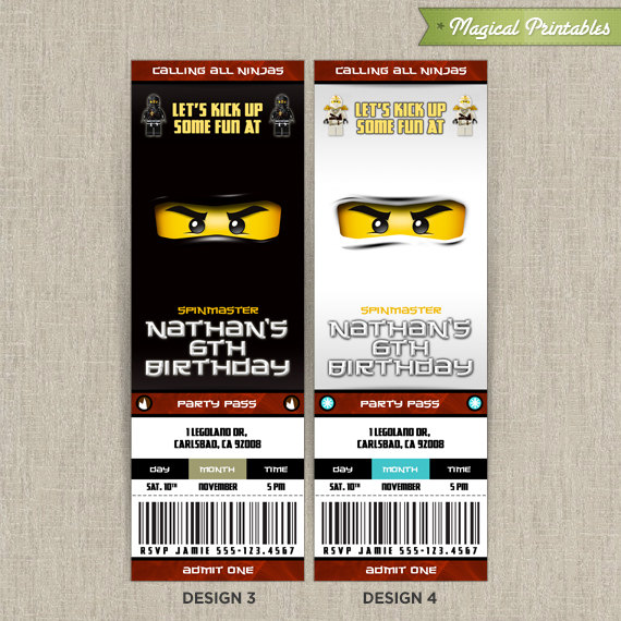 Personalized Lego NinjaGo Birthday Ticket Invitation - Set 2 - ticket invitation