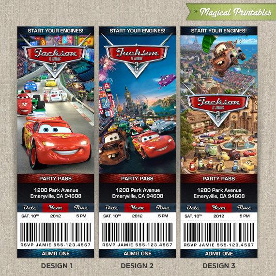 Personalized Disney CARS 2 Birthday Ticket Invitation Card - ticket invitation