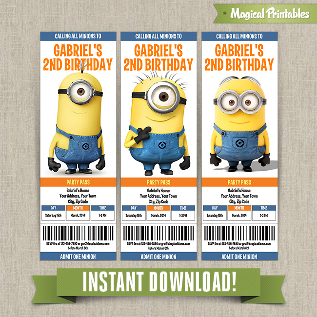 Despicable Me Minions Birthday Ticket Invitations - Instant Download