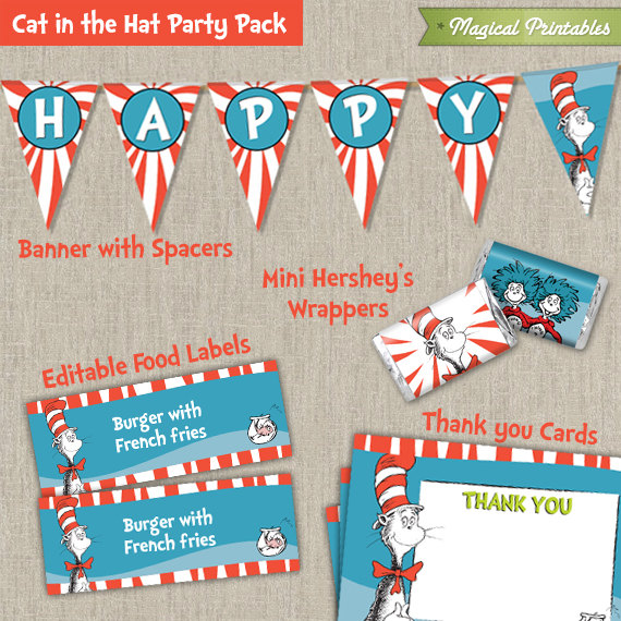 Dr Seuss Cat in the Hat Printable Party Pack - Including Invitation