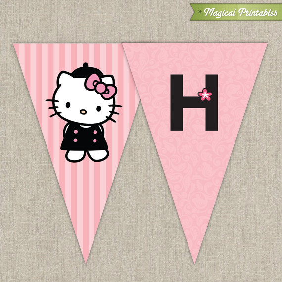 Hello Kitty with French Poodle Paris Printable Birthday Banner