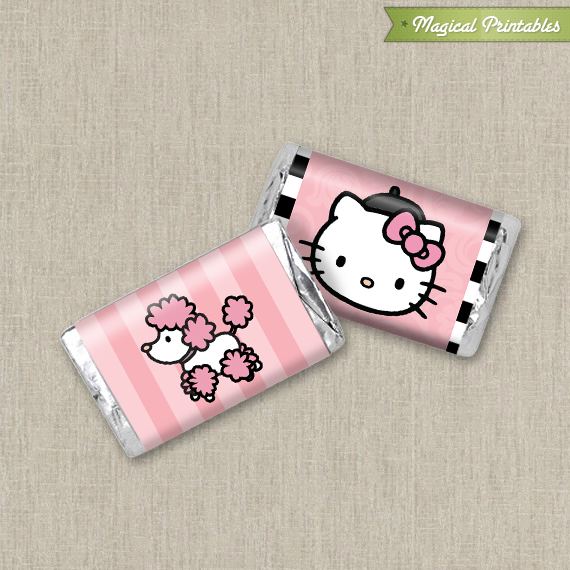 Hello Kitty with French Poodle Paris Printable Mini Hershey\u0027s Wrappers