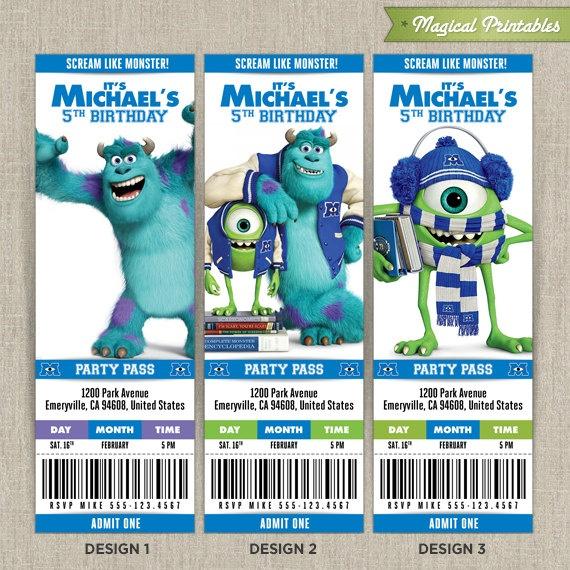 Personalized Disney Monsters University Birthday Ticket Invitation - ticket invitation