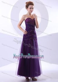 Beaded Purple Ankle-length Tulle and Taffeta Prom Dress in ...