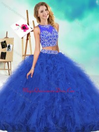 See Through Two Piece Red Quinceanera Dress with Beading ...