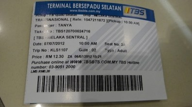 Our Bus Tickets From Kuala Lumpur to Melaka