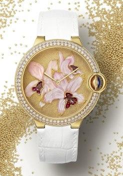 Montre Cartier Ballon Bleu de Cartier 42 mm décor orchidées granulation et nacre gravée