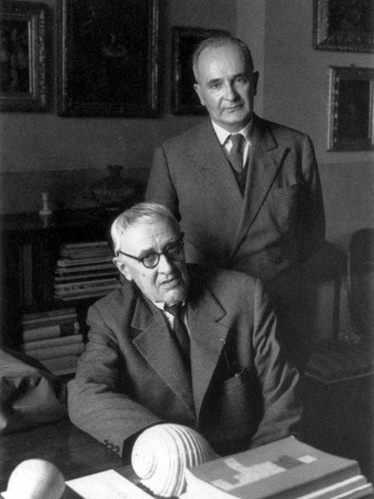 Luigi Magnani con Giorgio Morandi foto di Ugo Mulas