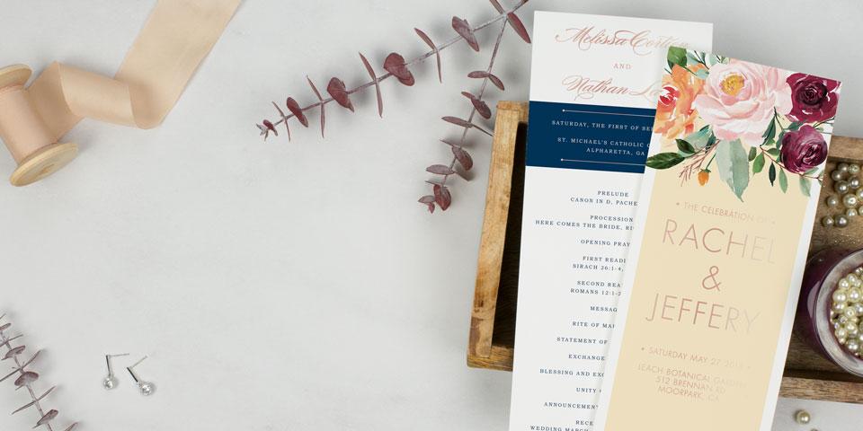 Wedding Programs 100 Free Customized Samples