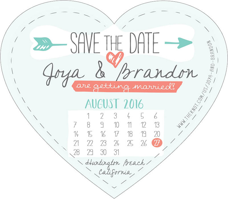 Create Your Own Heart Shaped Save the Date Magnet