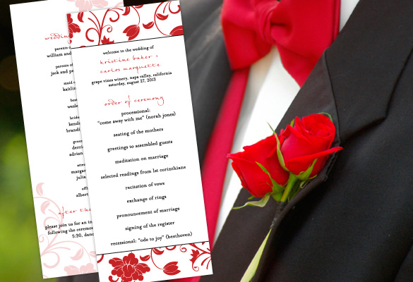 Color Monday For Red WeddingsColor Monday For Red Weddings - how to design wedding program template