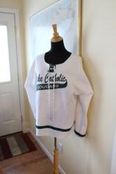 Upcycled Sweatshirt to Hockey Jersey by @maidenjane