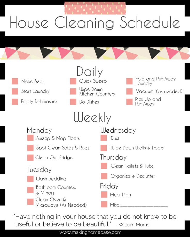 How to Plan Your Weekly Housework! - Maid in Essex Domestic Cleaners - housework schedule