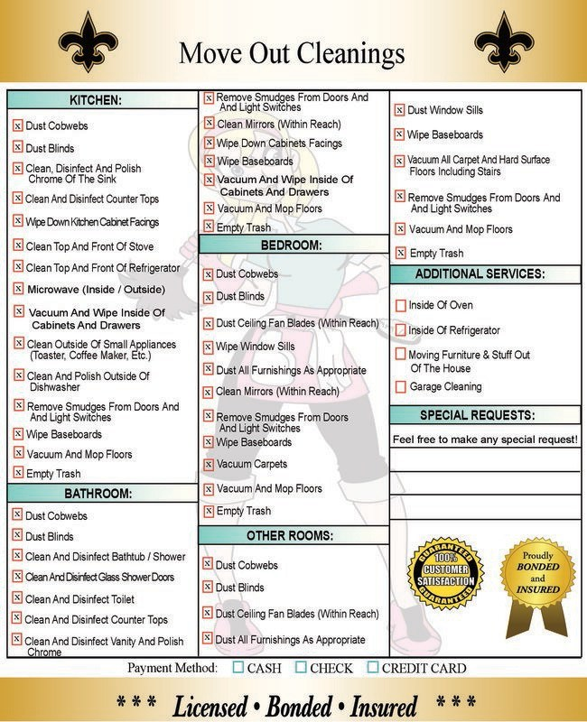 Move Out Cleaning Oven Cleaning New Orleans - checklist for moving