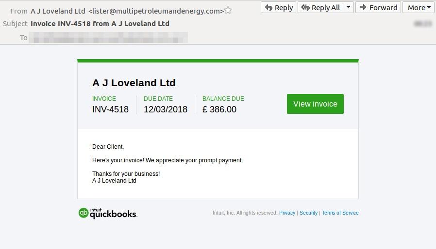 Quickbooks trademark exploited in email scam