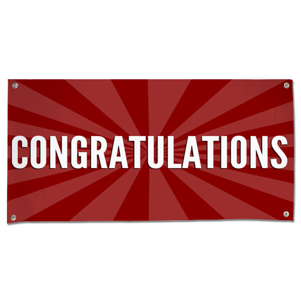 Pre-Printed Congratulations Banner With Red Starburst Background