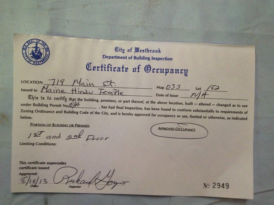 Full Certificate Of Occupancy