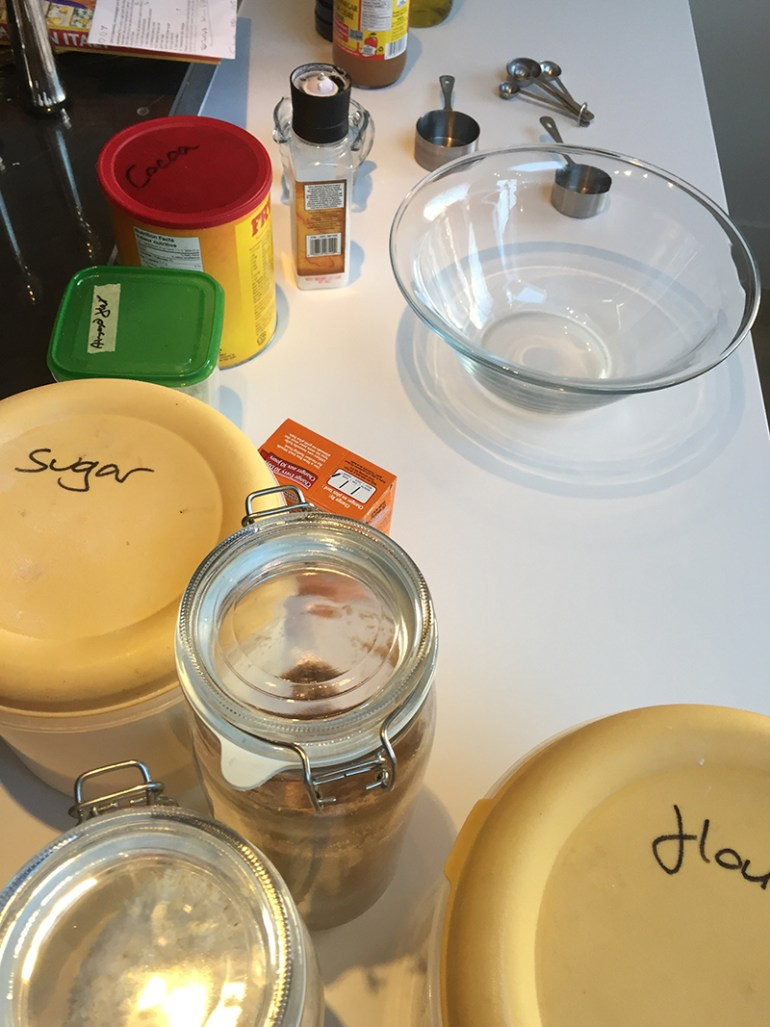 Mise en place for chocolate cake with coconut
