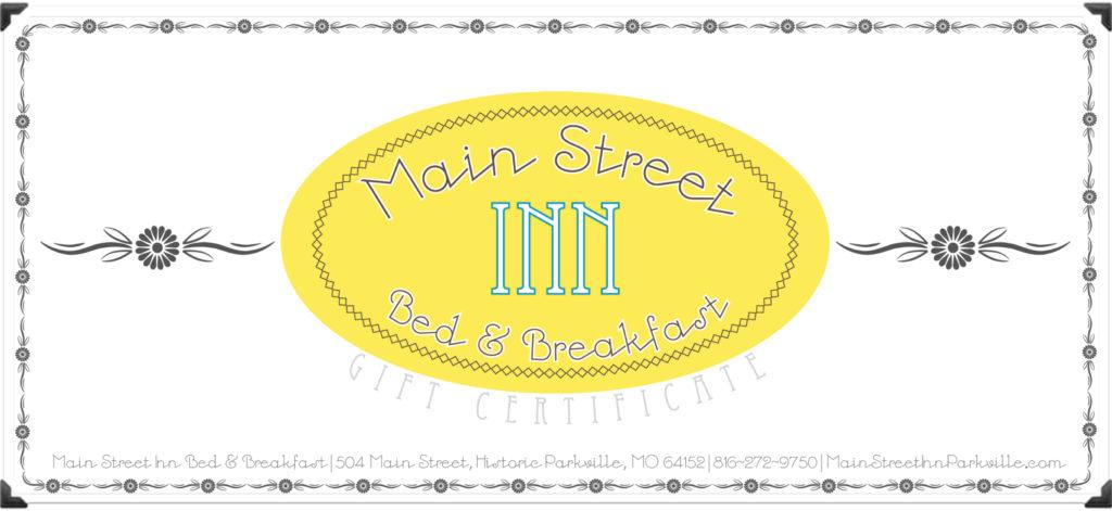Gift Certificates Kansas City Bed  Breakfast Main Street Inn