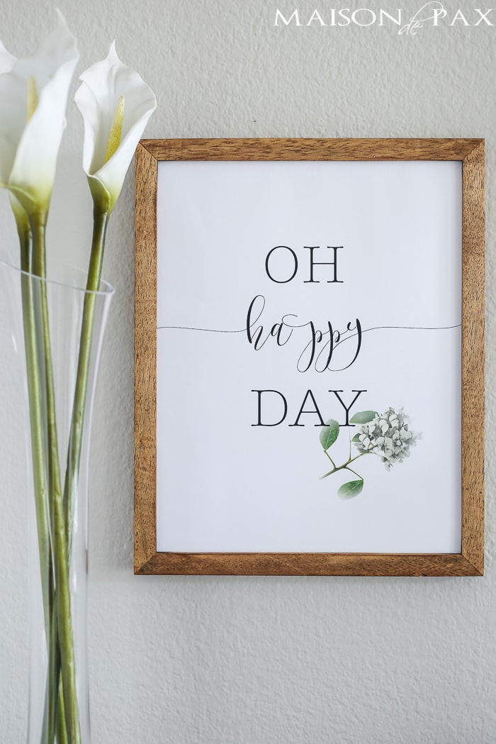 Oh Happy Day Free Printable for Spring - Maison de Pax