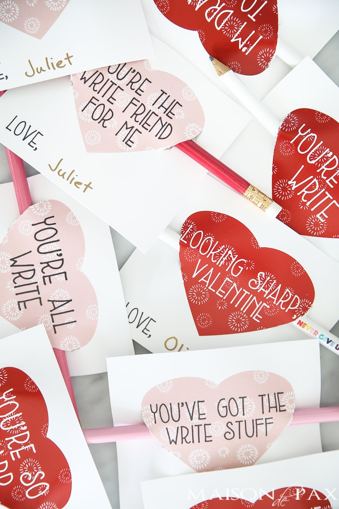 Pencil Sayings Free Printable Valentines for Kids - Maison de Pax