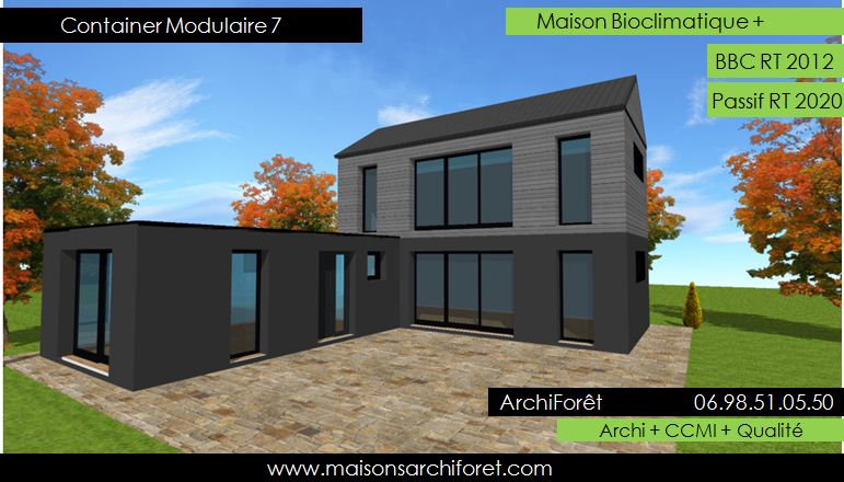 Container-Modulaire-7-Photo-Maison-Container-Plan-etage-en-L-bardage - plan maison structure metallique