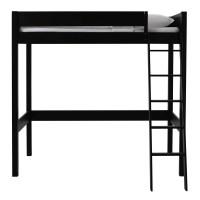 Black wooden loft bed 90 x 190 cm Newport | Maisons du Monde