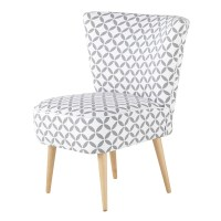 Cotton patterned vintage armchair in grey and white ...