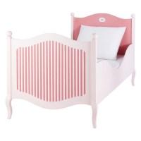 Lit enfant 90 x 190 cm en bois rose et blanc Gourmandise ...