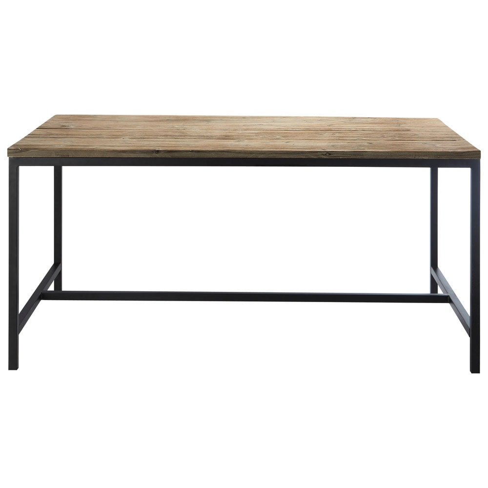 Solid Wood And Metal Industrial Dining Table W 150cm Long