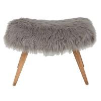 VILMA grey faux fur stool | Maisons du Monde