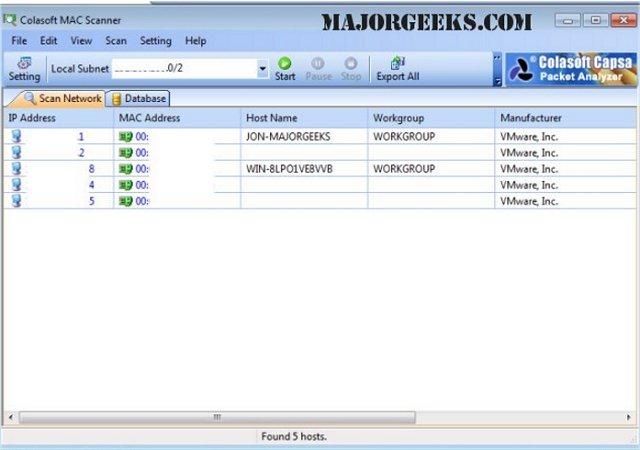 Colasoft MAC Scanner Free Is a Fast IP, MAC Address Scanner - MajorGeeks