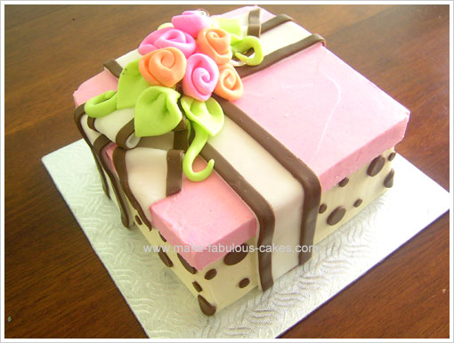 Birthday Cake Idea A Floral Gift Box Cake