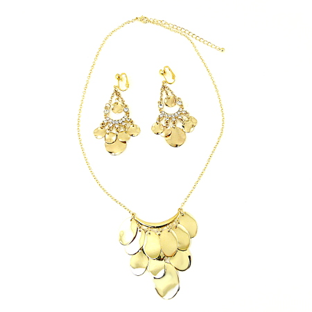 Golden Sunshine Droplets Clip On Earrings & Necklace Set from £19.98 to £11.99
