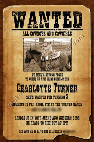 Western Invitations and Samples for a Wanted Poster invite - example of a wanted poster