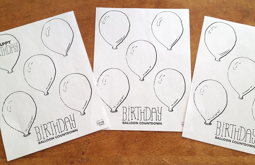 Printable Birthday Balloon Countdown Make and Takes