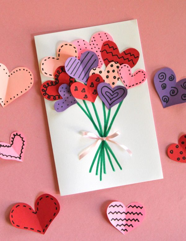 Bouquet of Hearts Card for Valentineu0027s Day Make and Takes - card