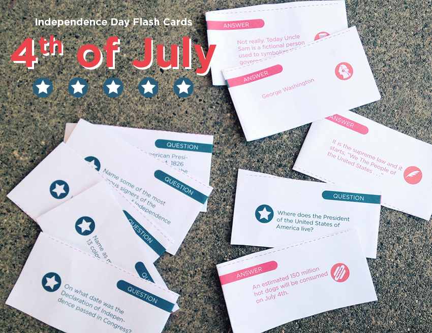 Independence Day Printable Flash Cards Make and Takes