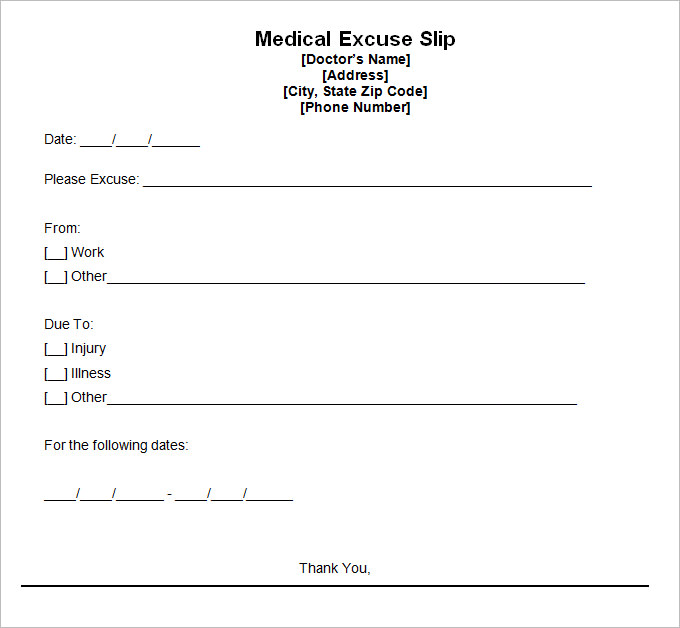 Fake Doctors Note / Excuse / Template Online - Free Download
